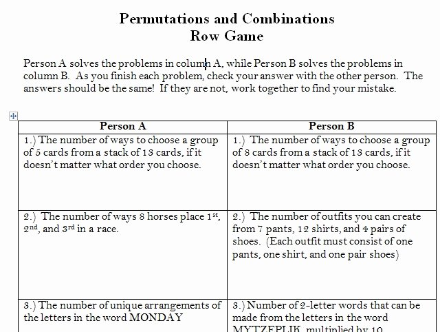 Permutations and Combinations Worksheet Answers Awesome Permutations and Binations Worksheet Answers