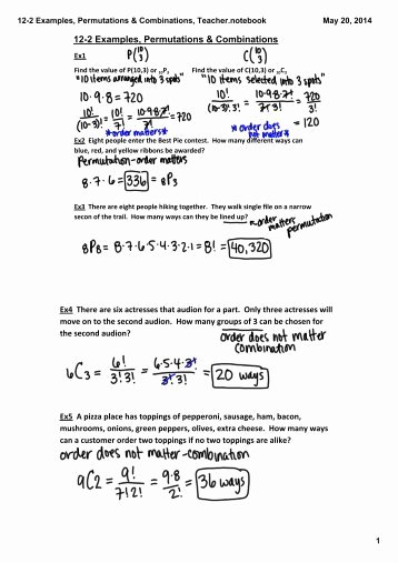 Permutations and Combinations Worksheet Answers Elegant Algebra 4 Permutations & Binations Worksheet Name 1