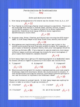 Permutations and Combinations Worksheet Unique Permutations & Binations Worksheet by Activities by
