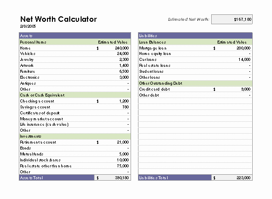 Personal Net Worth Worksheet Fresh Net Worth Calculator