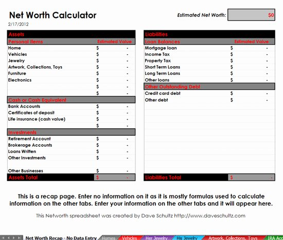 Personal Net Worth Worksheet Fresh