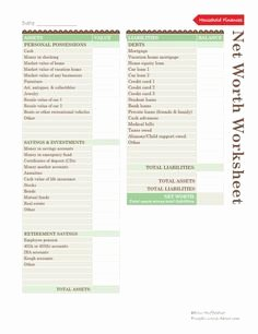 Personal Net Worth Worksheet Fresh Personal Net Worth Worksheet the Best Worksheets Image