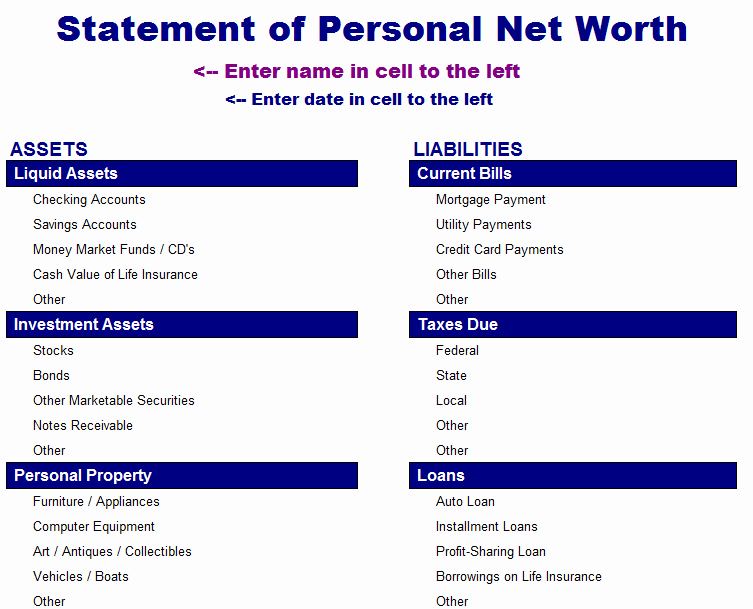 Personal Net Worth Worksheet Inspirational Statement Of Net Worth