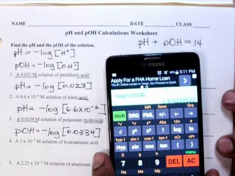 Ph and Poh Worksheet Answers Best Of Ph and Poh Calculations Worksheet