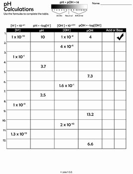 Ph and Poh Worksheet Answers Best Of Ph Calculation Worksheet by the Clever Chemist