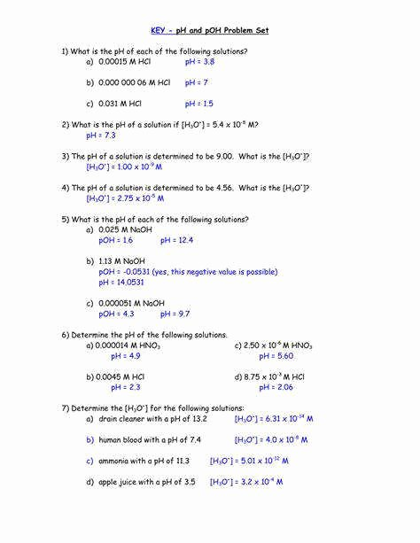 Ph and Poh Worksheet Answers Best Of Ph Practice Worksheet