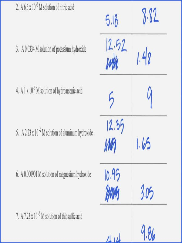 Ph and Poh Worksheet Answers Inspirational Ph Calculations Worksheet