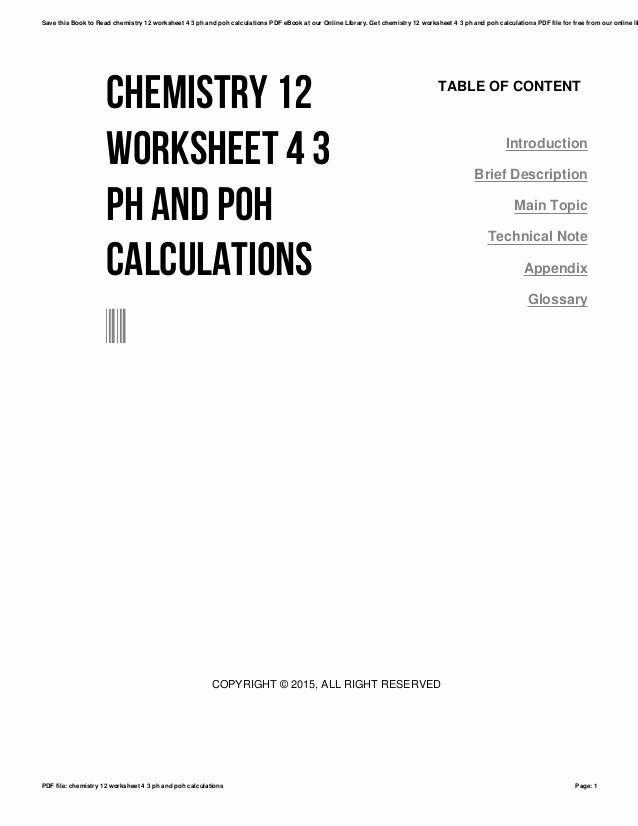 Ph and Poh Worksheet Answers Luxury Chemistry 12 Worksheet 4 3 Ph and Poh Calculations