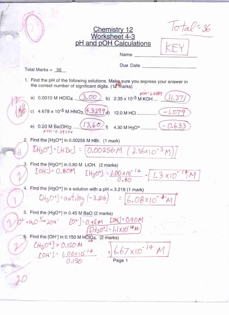 Ph and Poh Worksheet Answers New Chemistry 12 Mr C S Math and Science Website