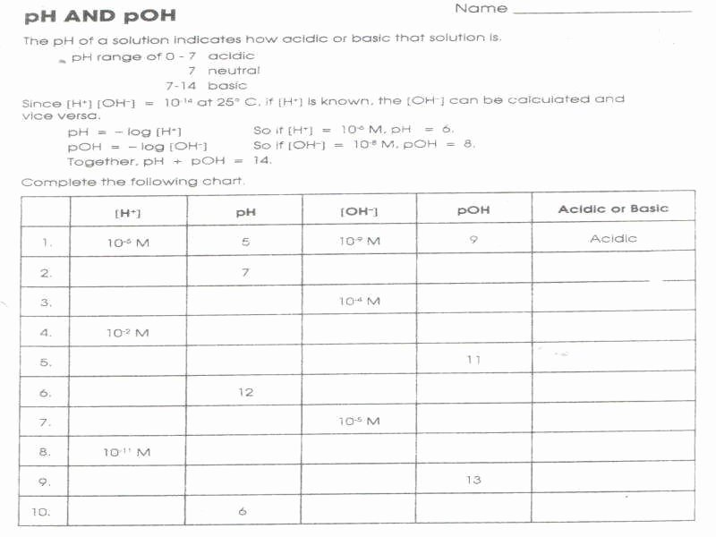 Ph and Poh Worksheet Answers New Ph and Poh Worksheet