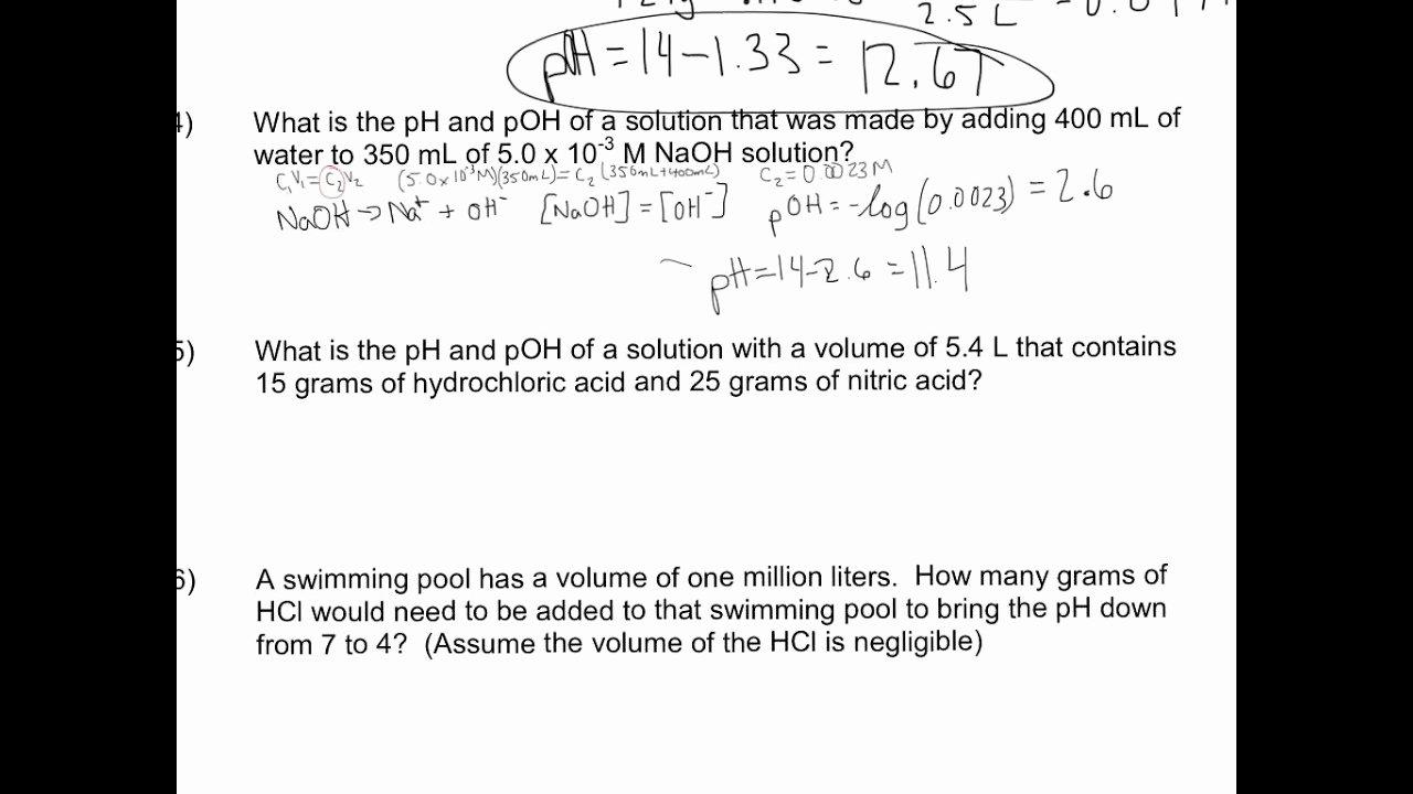 Ph and Poh Worksheet Beautiful 13 4 Ph and Poh Worksheet