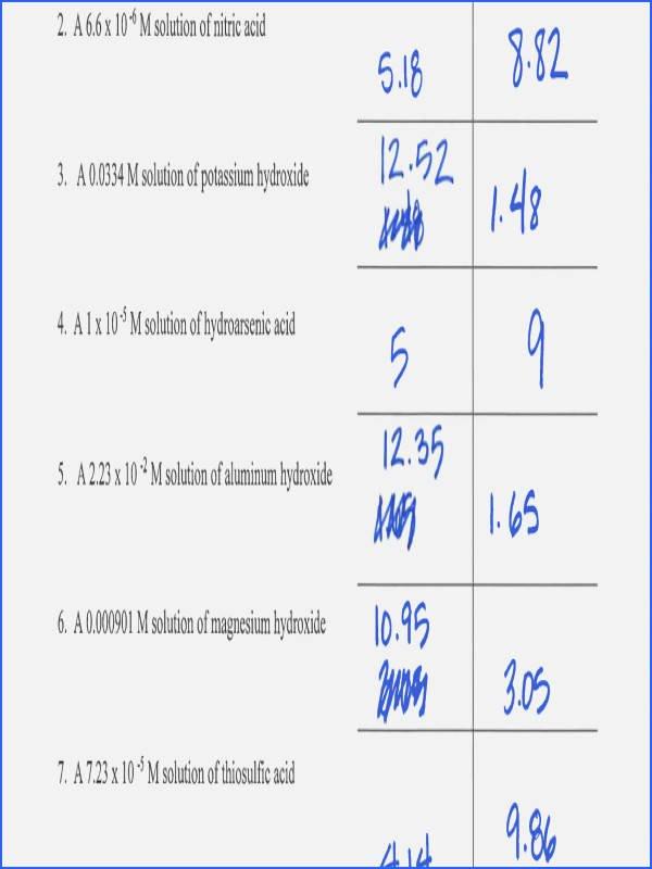 Ph and Poh Worksheet Beautiful Ph Calculations Worksheet
