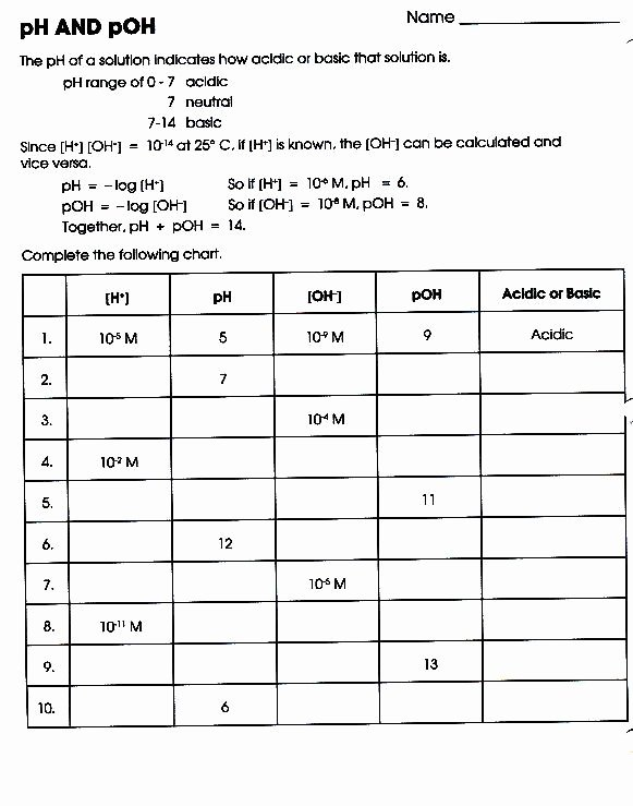Ph and Poh Worksheet Fresh assignments Science with Seaford
