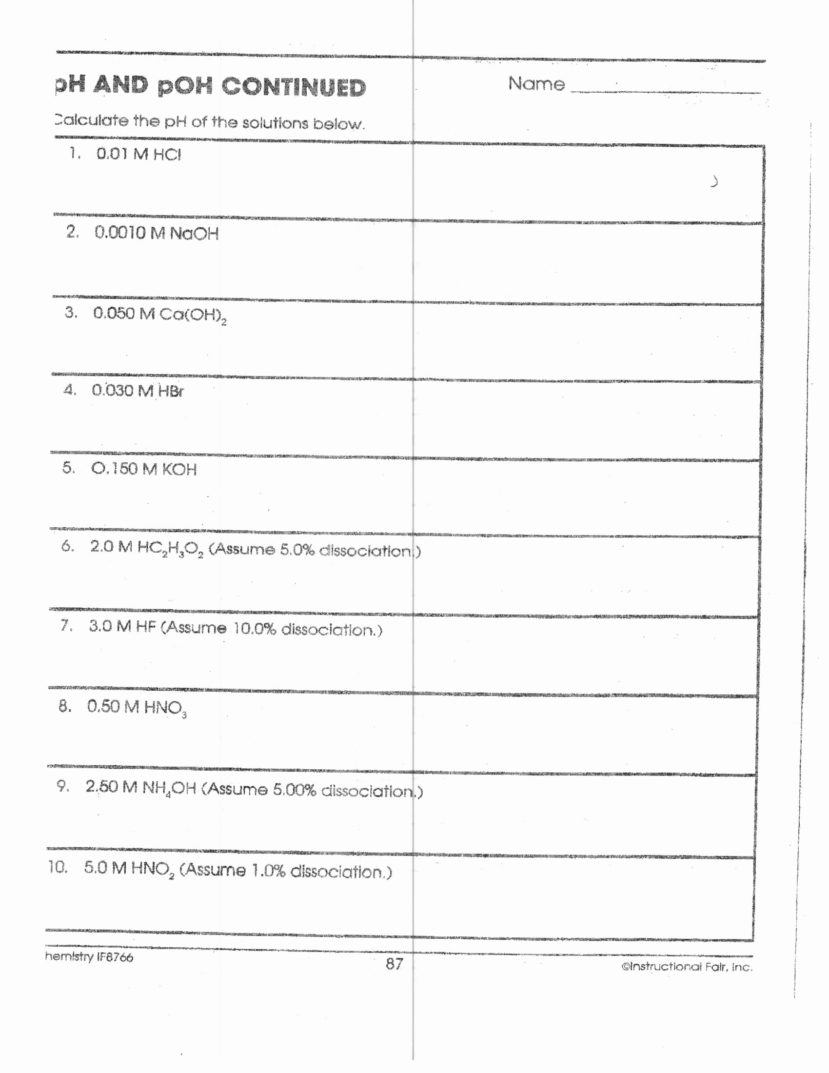 Ph and Poh Worksheet New Worksheet Acids and Bases Worksheets Worksheet Fun