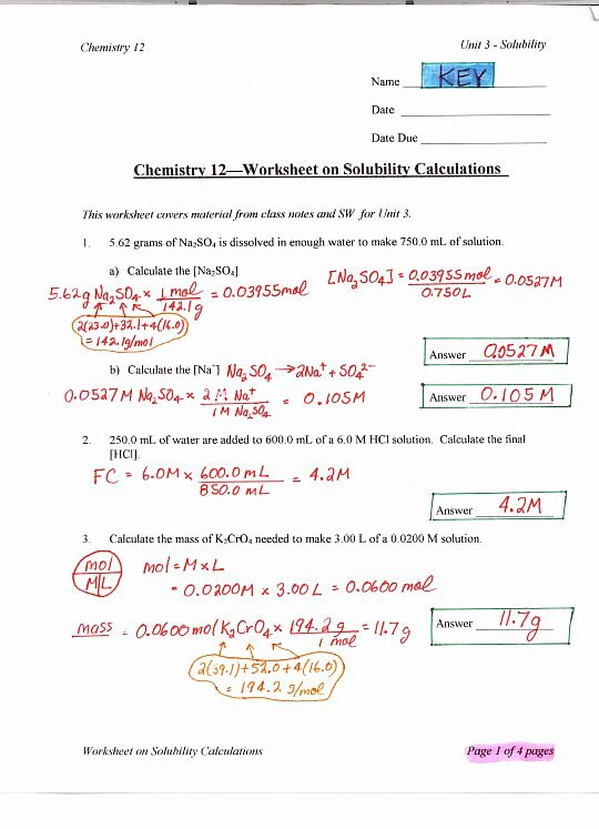Ph Worksheet Answer Key Awesome Chemistry 12