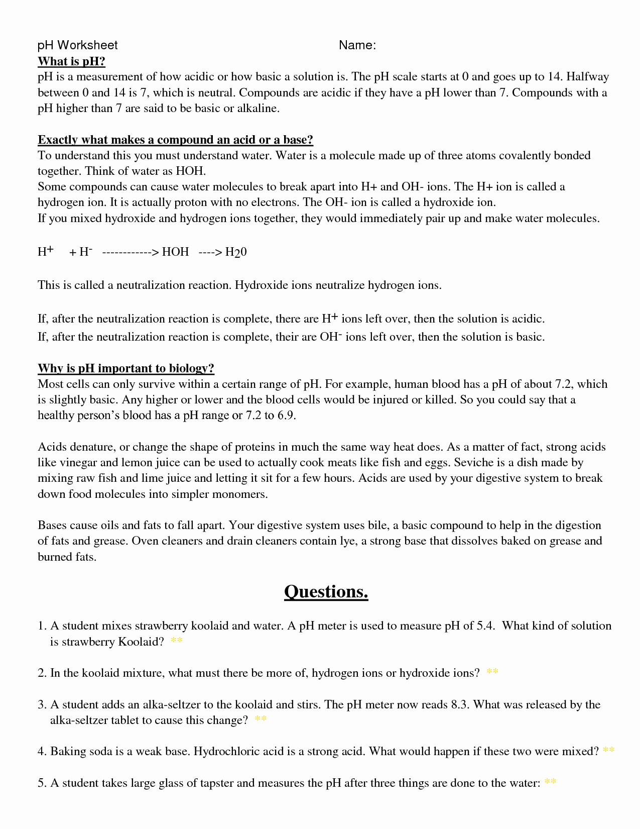 Ph Worksheet Answer Key Unique Ph Scale Worksheet