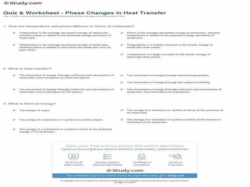 Phase Change Worksheet Answers Awesome Phase Change Worksheet