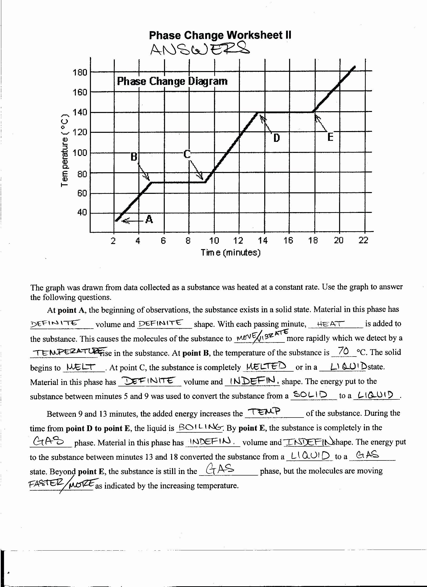 Phase Change Worksheet Answers Beautiful Phase Change Worksheet with Answers the Best Worksheets