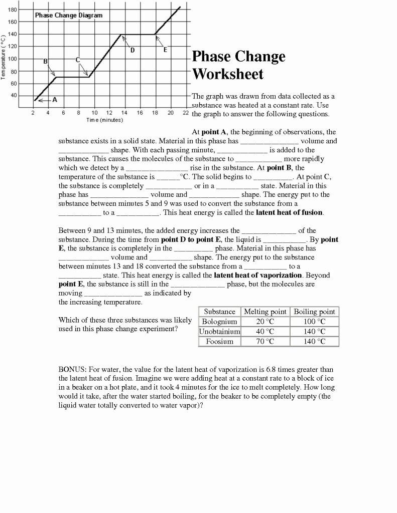 Phase Change Worksheet Answers Elegant Phase Change Worksheet with Answers the Best Worksheets