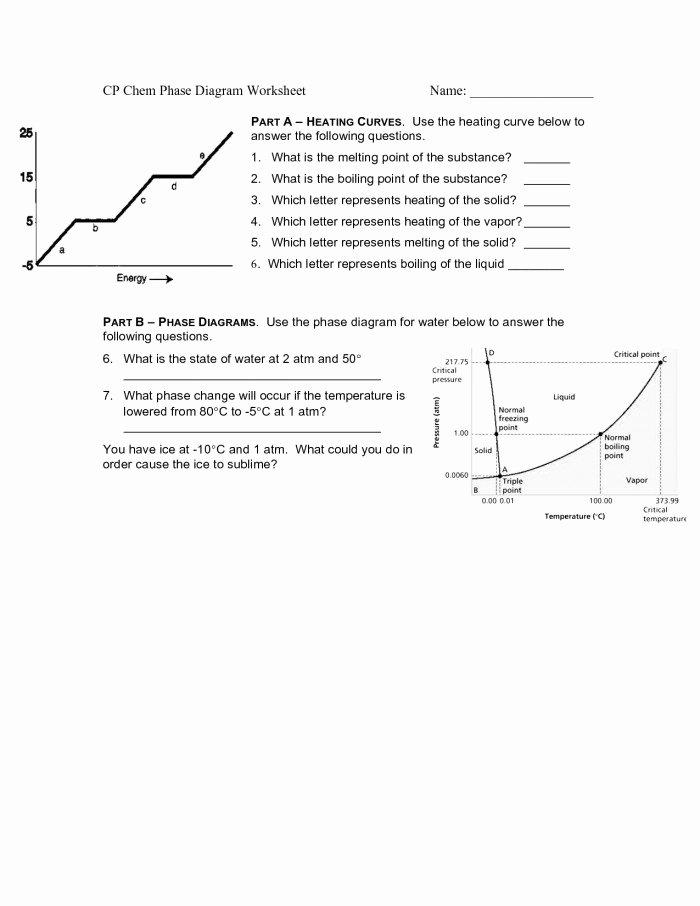 Phase Change Worksheet Answers Elegant Phase Diagram Worksheet Answers