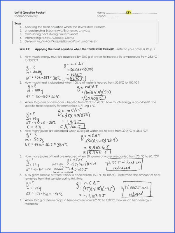 Phase Change Worksheet Answers New Phase Change Worksheet Answers