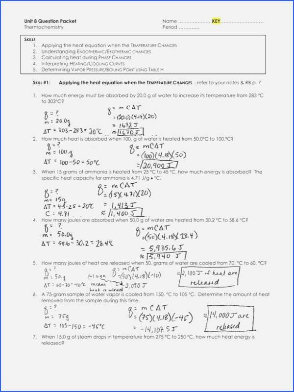 Phase Change Worksheet Answers New Phase Change Worksheet Answers