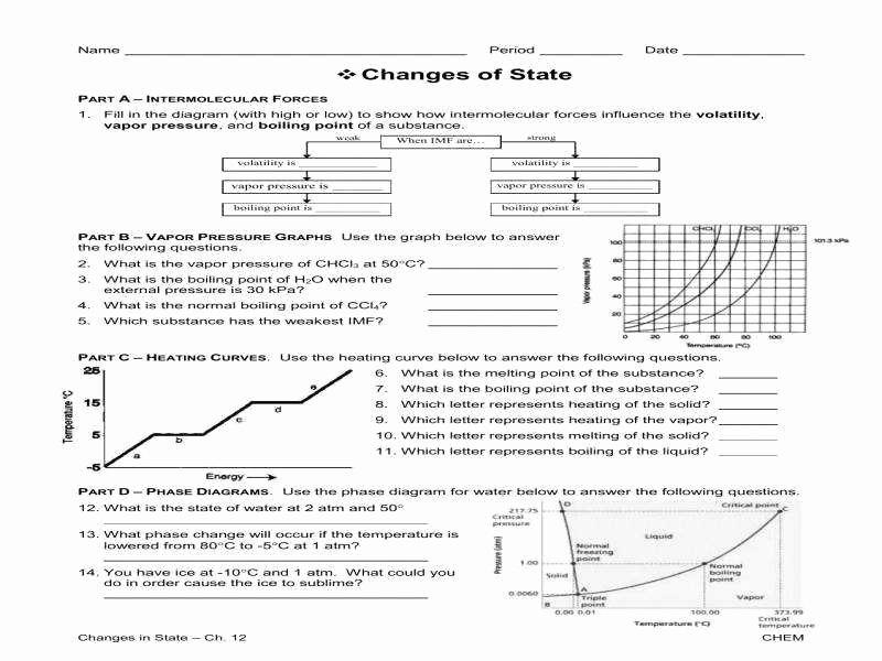Phase Change Worksheet Answers Unique Phase Change Diagram Worksheet
