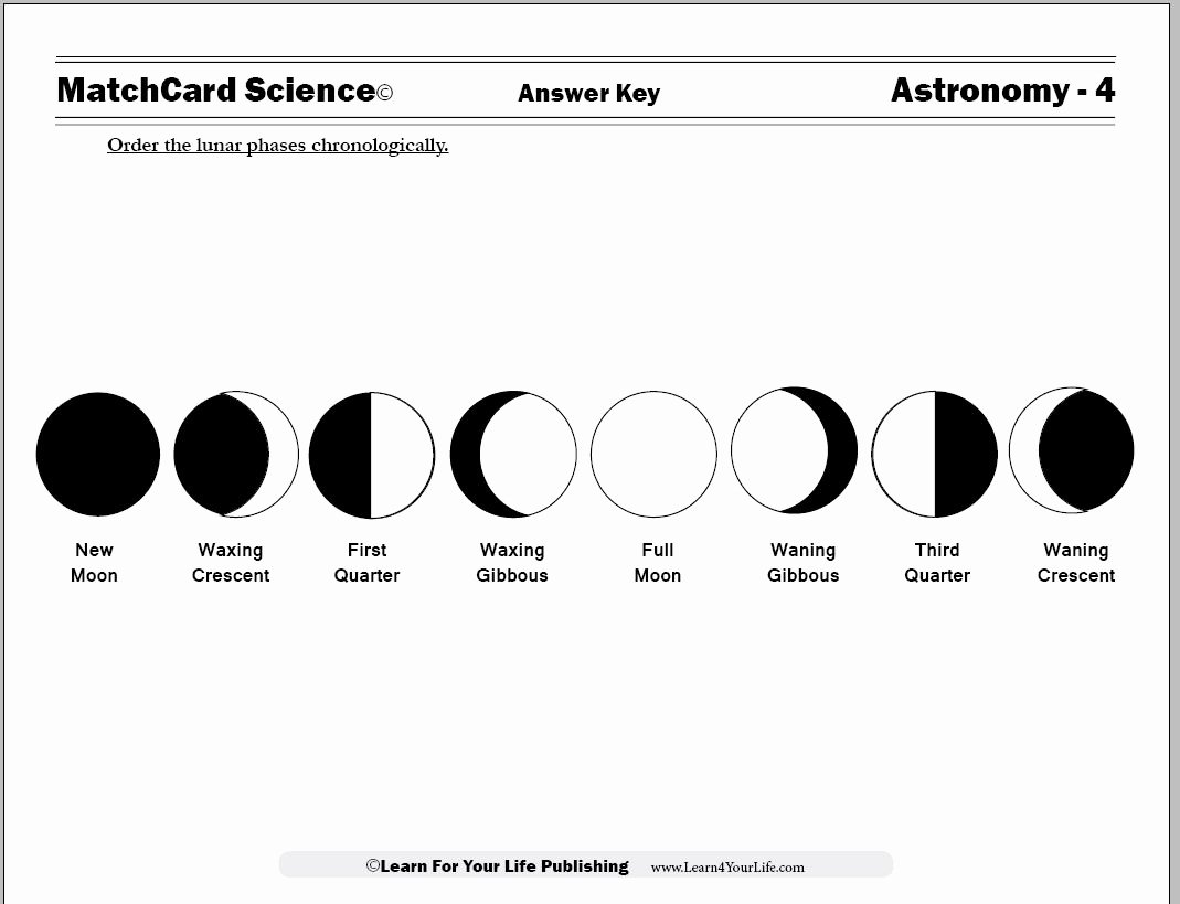 Phases Of the Moon Worksheet Awesome Moon Cycle