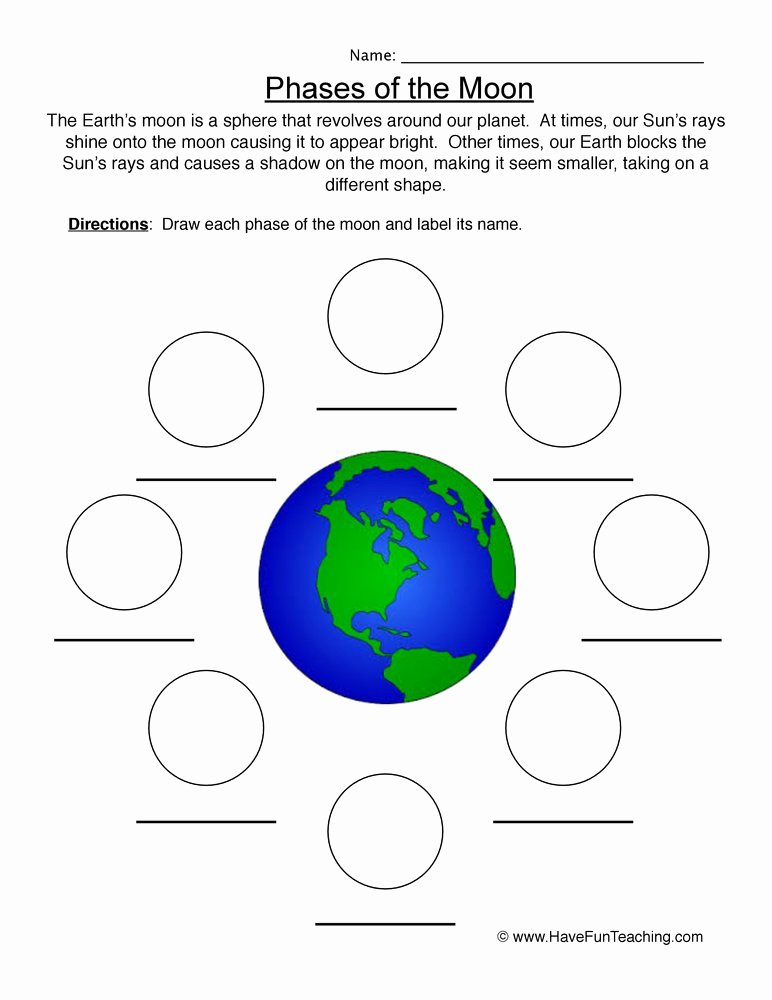 Phases Of the Moon Worksheet Awesome Moon Phases Worksheet