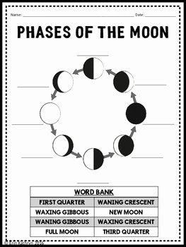 Phases Of the Moon Worksheet Inspirational Phases Of the Moon Matching Flash Card Activity W