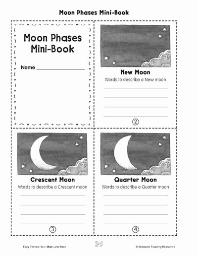 Phases Of the Moon Worksheet Lovely Minibook Moon Phases