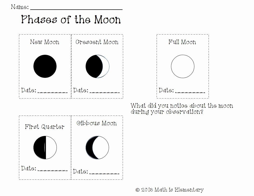 Phases Of the Moon Worksheet New Phases Of the Moon Stem is Elementary