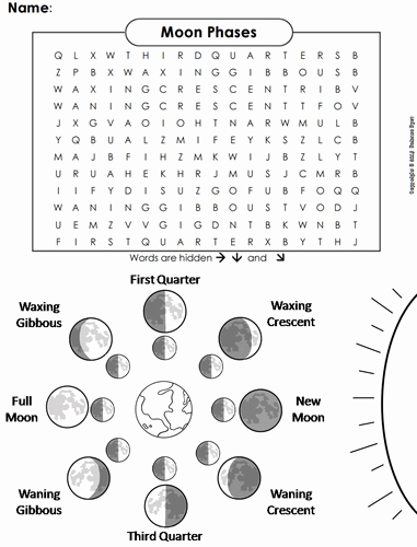 Phases Of the Moon Worksheet Unique Moon Phases Word Search by Sciencespot
