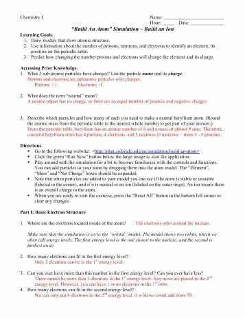 Phet Build An atom Worksheet Awesome atom First Grade Worksheet Pdf atom Best Free Printable