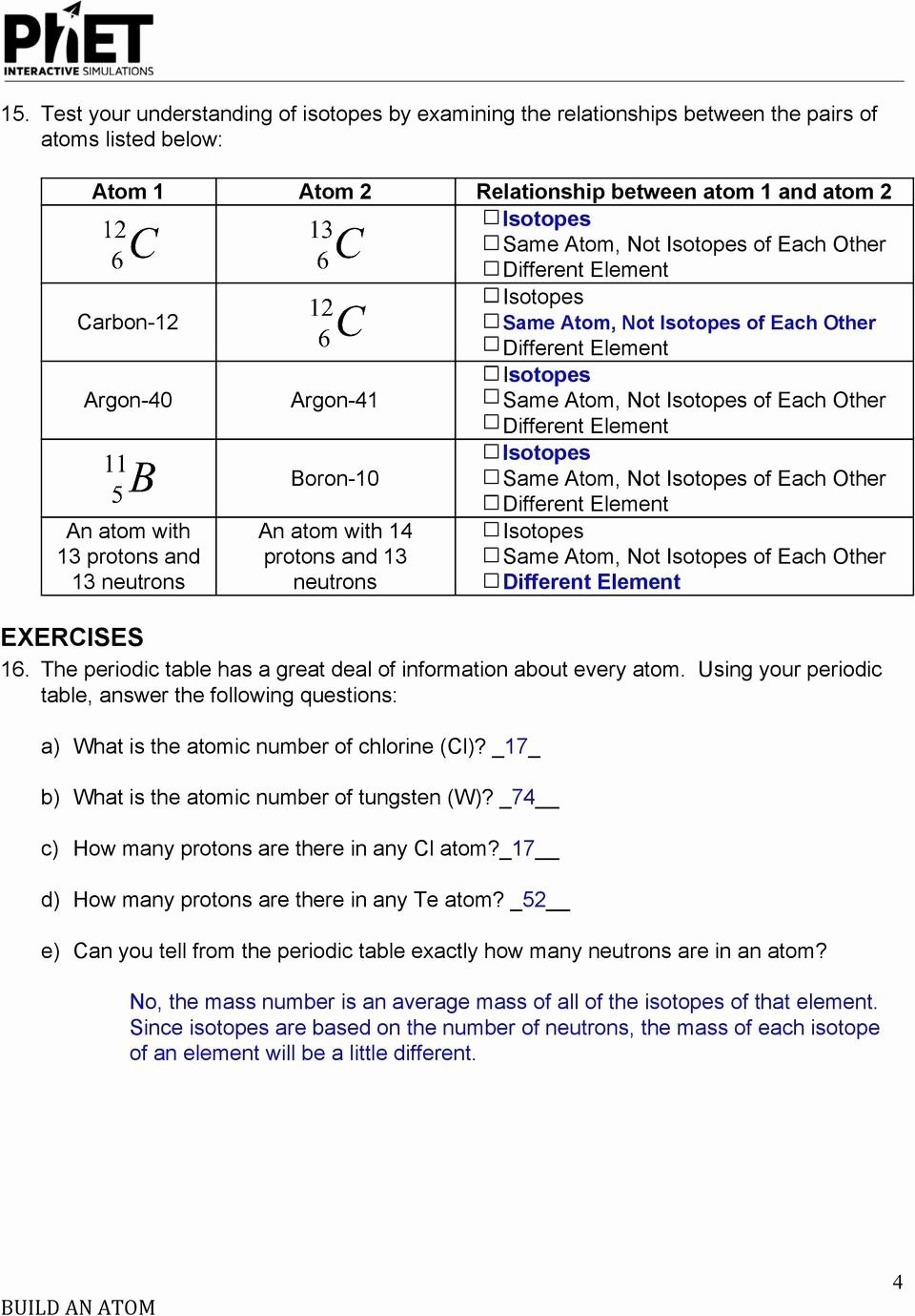 Phet Build An atom Worksheet Inspirational Electrons In atoms Worksheet Answers