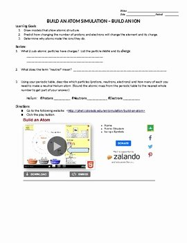 Phet Build An atom Worksheet Luxury Phet Build An Ion by Catherine Rogers