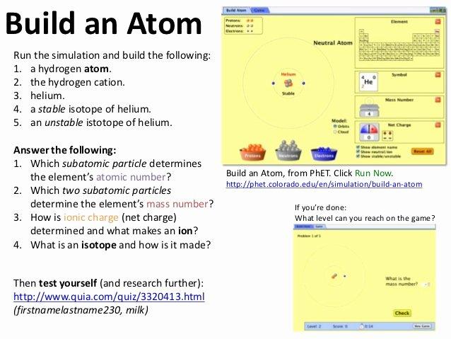 Phet Build An atom Worksheet Unique atoms and Bonding