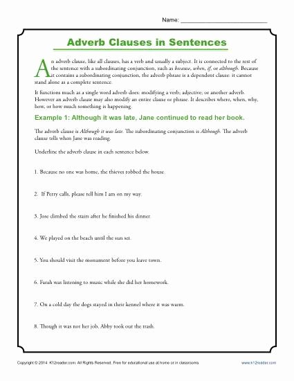 Phrase and Clause Worksheet Awesome Adverb Clauses In Sentences