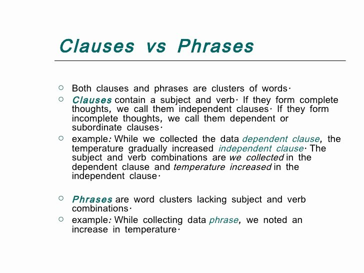 Phrase and Clause Worksheet Awesome Types Of Clauses