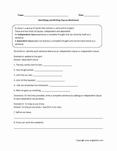 Phrase and Clause Worksheet Beautiful Dependent and Independent Clauses Worksheet