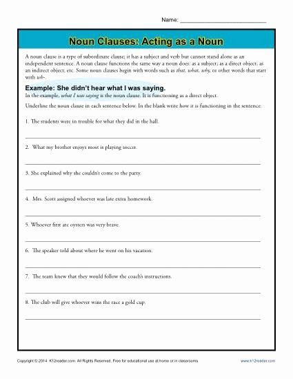 Phrase and Clause Worksheet Beautiful Noun Clauses Acting as A Noun