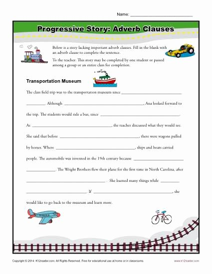 Phrase and Clause Worksheet Beautiful Progressive Story Adverb Clauses