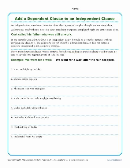 Phrase and Clause Worksheet Inspirational Add A Dependent Clause to An Independent Clause