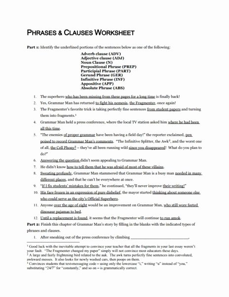 Phrase and Clause Worksheet Lovely Phrases and Clauses Worksheet Worksheet for 7th 12th