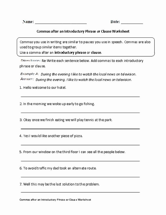 Phrase and Clause Worksheet Luxury Mas after Introductory Phrase or Clause Worksheet
