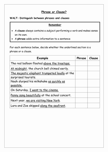 Phrase and Clause Worksheet Luxury Spag Worksheet Identify Phrases and Clauses by Chloef23