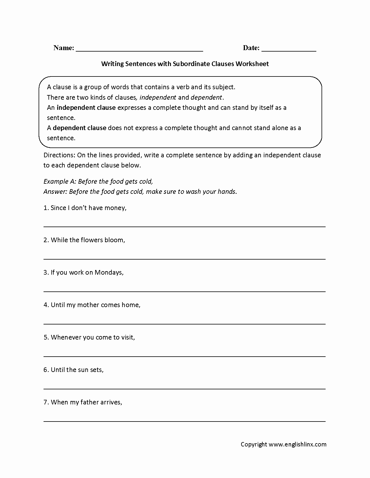 Phrase and Clause Worksheet New Writing Sentences with Subordinate Clauses Worksheet