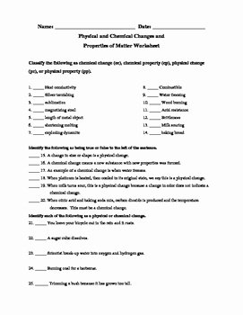 Physical and Chemical Change Worksheet Luxury Physical and Chemical Changes and Properties Of Matter