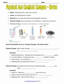Physical and Chemical Changes Worksheet Elegant Physical and Chemical Changes Notes Worksheet for 7th