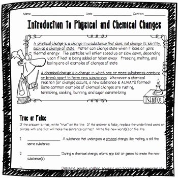 Physical and Chemical Changes Worksheet Luxury Introduction to Physical and Chemical Changes Worksheet